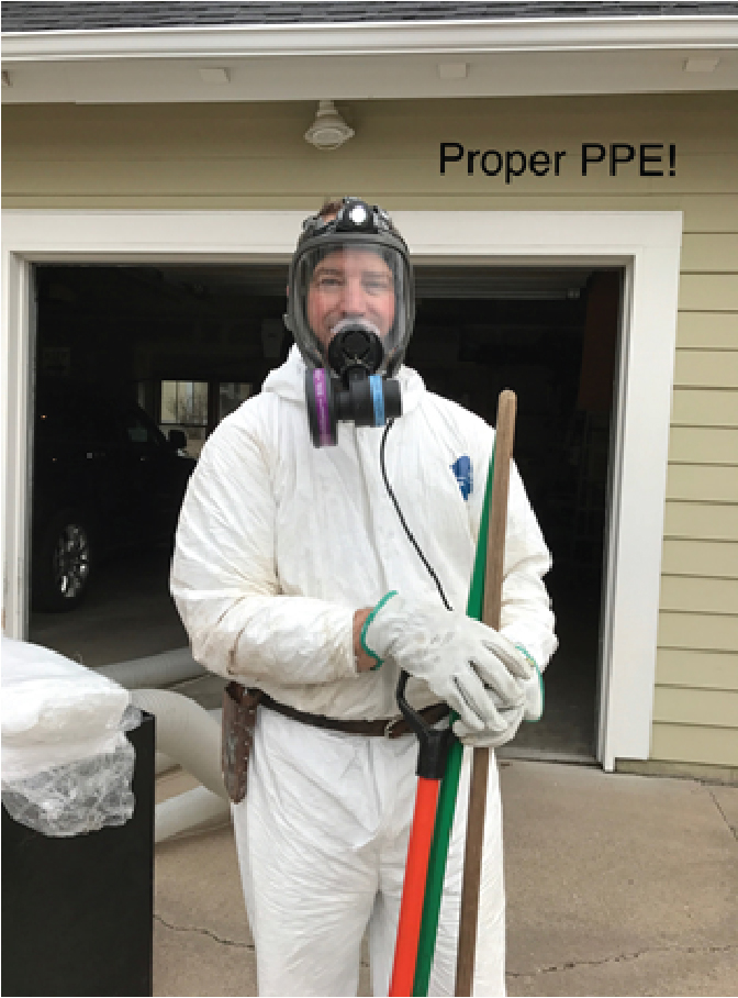 Wearing a respirator, protective clothing, gloves and face shield