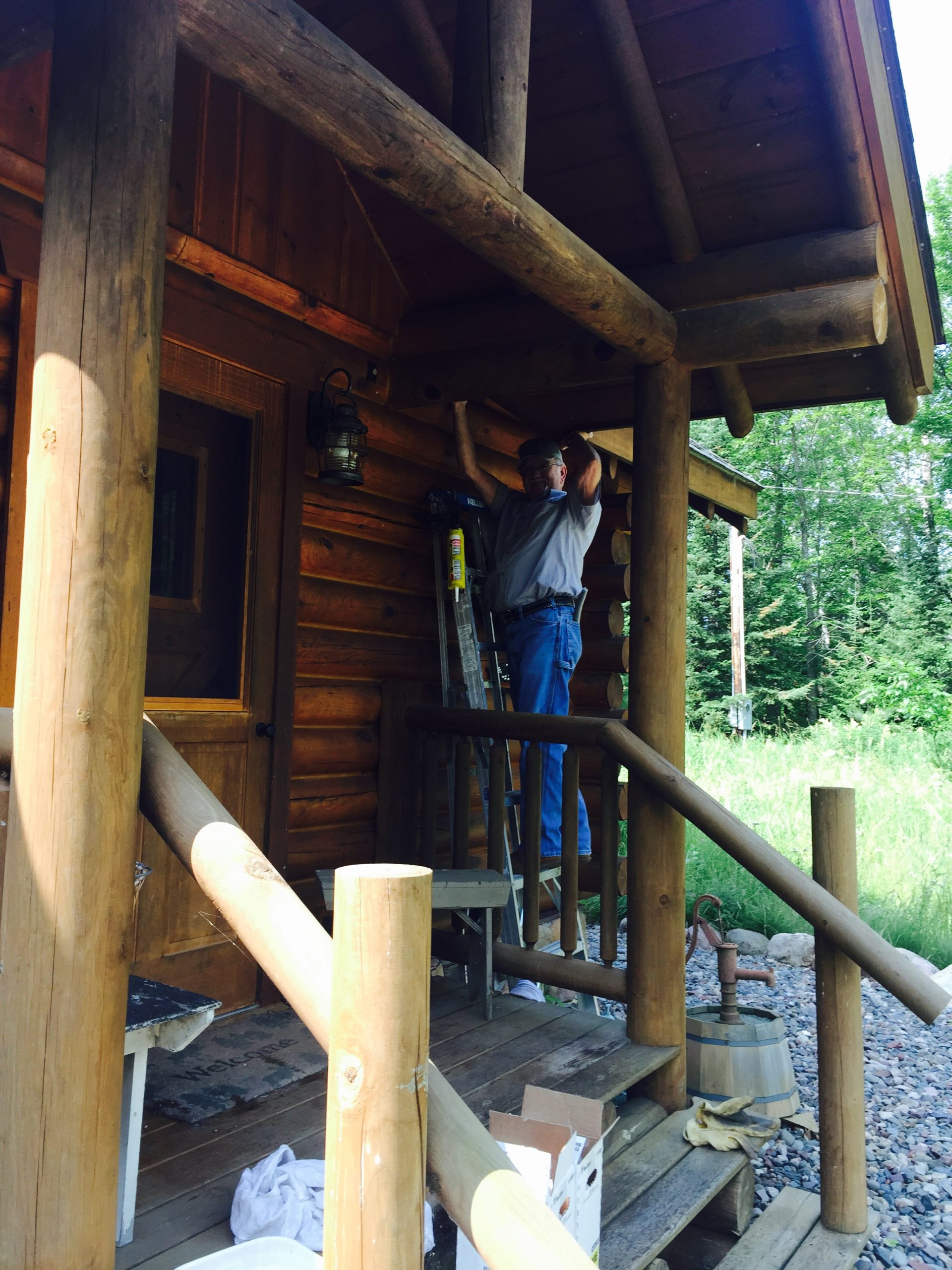 Bat Free technician stands on a ladder to batproof a log cabin.